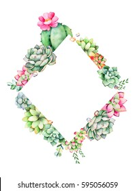 Colorful floral rhombus frame border with leaves,succulent plant,branche and cactus.World of succulents and cactus collection.Perfect for wedding,quote,pattern,greeting card,logo,invitations,lettering