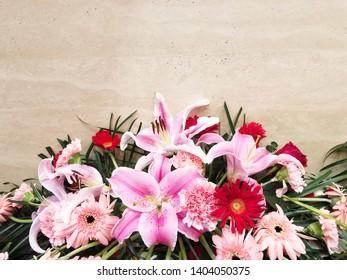 Colorful flower arrangement centerpiece in vase