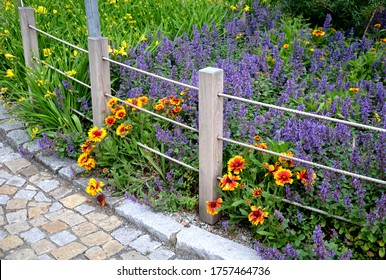 colorful flower beds tend to be more aesthetically impressive. a flowerbed of a sidewalk path with blue flowers separated by a fence of ropes and wooden prisms