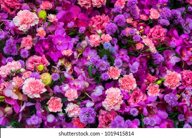 Colorful flower bouquet background made of pink and purple carnation and orchid flowers wall for background and wallpaper