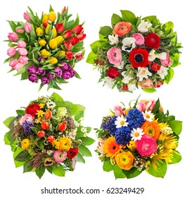 Colorful flower bouquets for Easter, Birthday, Wedding, Mothers Day. Multicolor floral decoration.