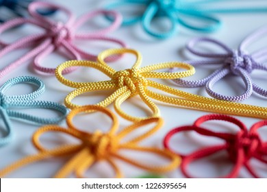 Colorful flower patterned knots