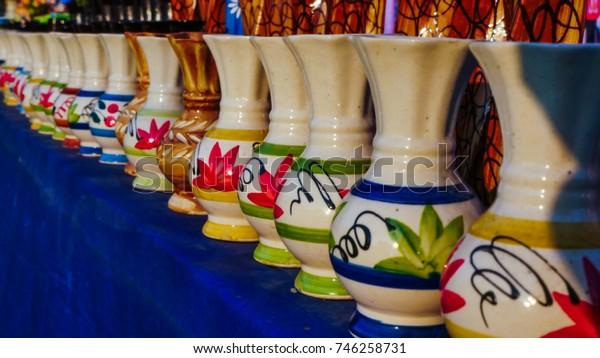 colorful flower pots