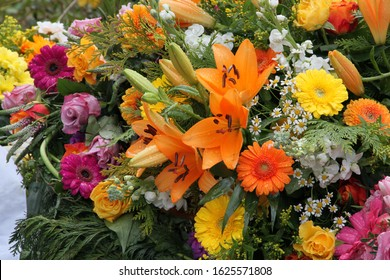Colorful flowers after a funeral