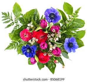 colorful flowers bouquet. fresh tulips and roses