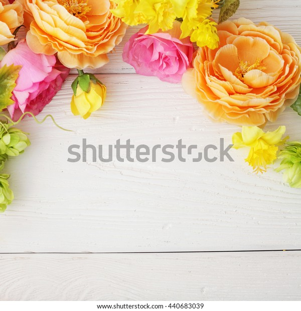 colorful flowers frame background