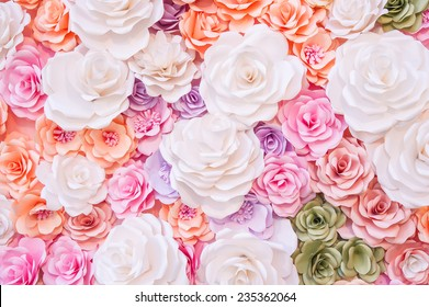 Colorful flowers paper background pattern