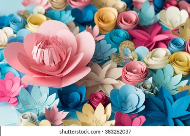 Colorful flowers paper background pattern lovely style.