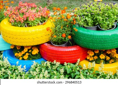 The colorful flowers and tire pots/HoChiMinh, Vietnam â?? February 17th 2015: Colorful flowers and tire pots in Tet 2015 festival , on NguyenHue Street, HoChiMinh, Vietnam