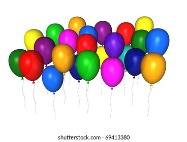 colorful flying balloons - 3d generated