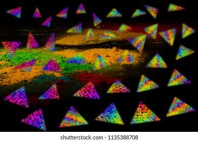 colorful flying samosas