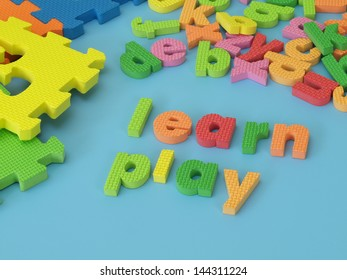Colorful foam letters for play and learn