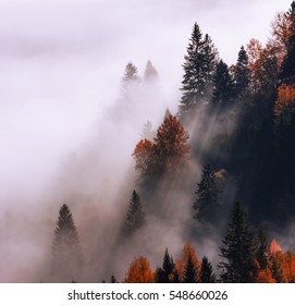 colorful foggy autumn Thailand mountains landscape, location east Asia mountains, Thailand morning sunrise, beauty world