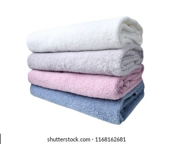 Colorful folded towels stack isolated.Loundry,household obgects.