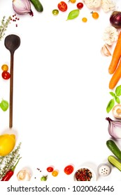 Colorful food ingredients on white background. Bio Healthy food herbs and spices for health cooking. Organic cooking ingredients over white. Diet or vegetarian food concept. Top view copy space.