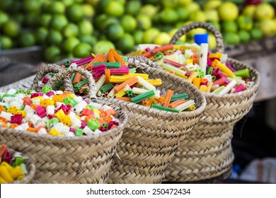 colorful food macaroni pasta background in India market