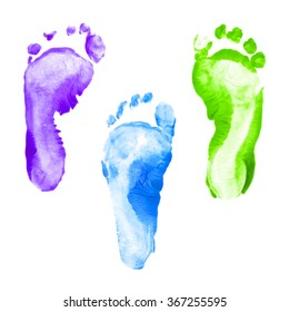 Colorful foot prints kid set isolated on white background for art education, top view.