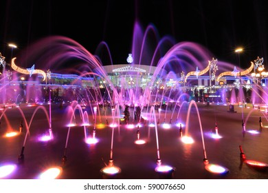 Colorful fountain in night at Soho square in Sharm El Sheikh