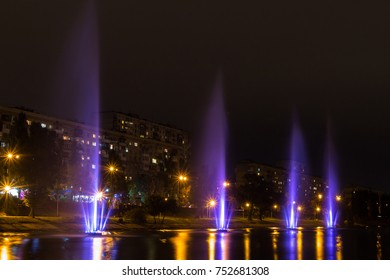 Colorful fountains in the middle of the river in Kyiv - the capital of Ukraine
