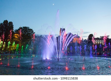 Colorful fountains in Warsaw old town Fountain Park (Poland).