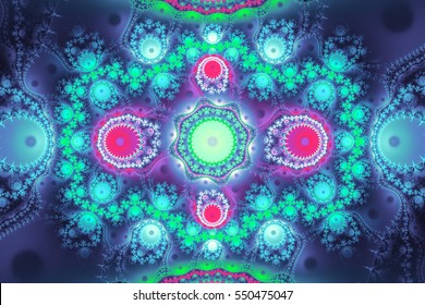 Colorful fractal can illustrate your work. Digital art illustration for a lot of concept. Eye catching beautiful fractals in magical colors.