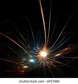 Colorful fractal sparkling stars