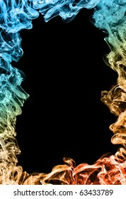 colorful frame made of smoke on black background