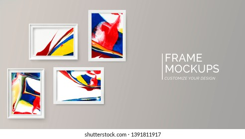 Colorful frame mockup against a gray wall