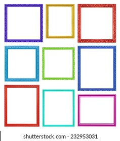 Colorful frames on the white background