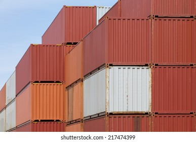 Colorful of freight shipping containers at the docks