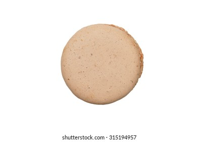 Colorful French Macarons isolated on the white background.Top view