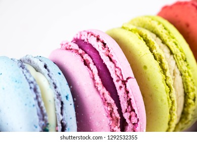 Colorful French macarons or macaroons. A macaroon is a small biscuit/cookie, made from ground almonds, coconut,  nuts or even potato, sugar, flavorings, food coloring, glace cherry, jam, chocolate
