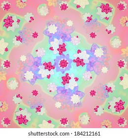 Colorful and fresh floral motif pattern composition design in square format