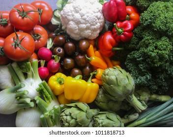 Colorful Fresh and Healthy picked  vegetables - Vegan , Vegetarian, Alkaline , Organic diet Concept