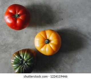 Colorful, fresh and organic heirloom tomatoes