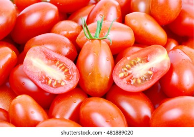 colorful of fresh San Marzano tomatoes full frame. benefits of tomatoes.