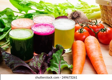 colorful fresh vegetable juice