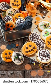 Colorful frosted cookies for a Happy Halloween