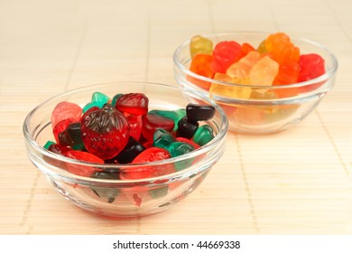 Colorful, fruit jelly candies in glass vase