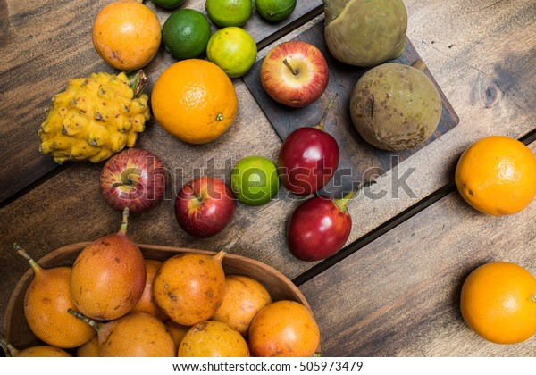 Colorful Fruit Mix Topical Exotic Fruits Stock Image