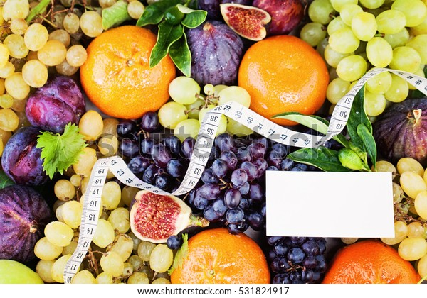 Colorful Fruit Mix White Measuring Tape Stock Image