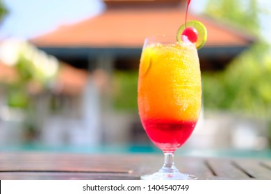 colorful fruit punch mocktail on table