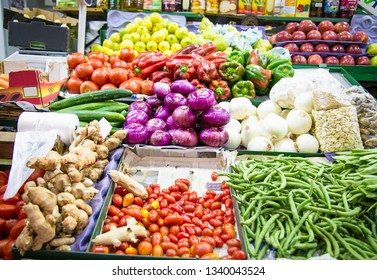 Colorful fruit and vegetable stall in Buenos Aires, Argentina.