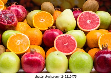 Colorful fruits on a market stand