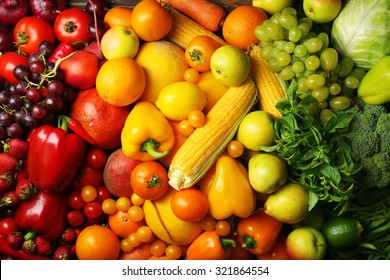 Colorful fruits and vegetables background - Shutterstock ID 321864554