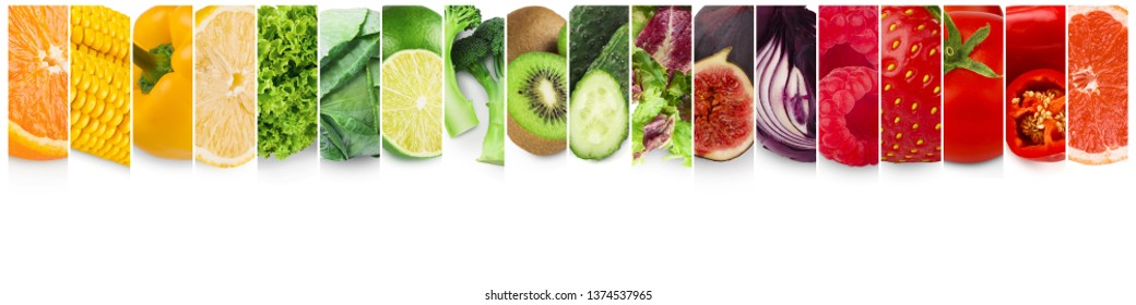 Colorful fruits and vegetables. Fresh food collage, panorama with empty space