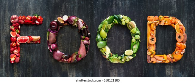 Colorful fruits and vegetables laid out to form words, fresh local organic produce, designer element background
