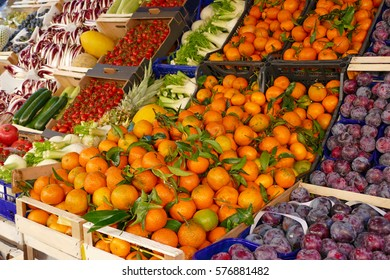 Colorful fruits and vegetables in the marketplace