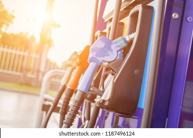 Colorful fuel pumps/Fuel nozzle at gas station in Thailand