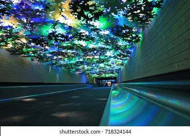 The colorful and fun underground Light Tunnel in the Atlanta airport, connecting Concourse A with Concourse B.